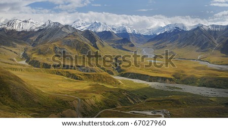 View of the Alaska Range from above the Eielson Visitor Center in Denali National Park - stock photo