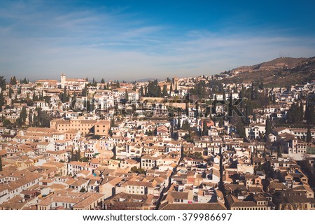 View of the Albaic�n from the Alhambra. Granada. Spain - stock photo