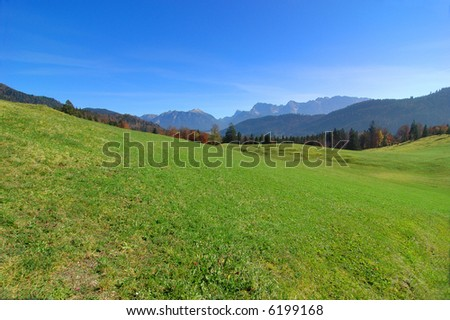 View of the alps with a green field in the foreground - stock photo