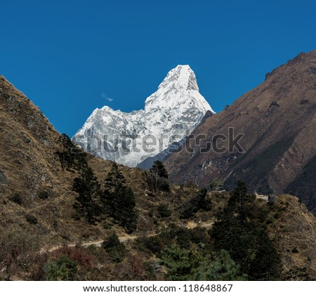 View of the Ama Dablam (6814 m) from South - Everest region, Nepal, Himalayas - stock photo