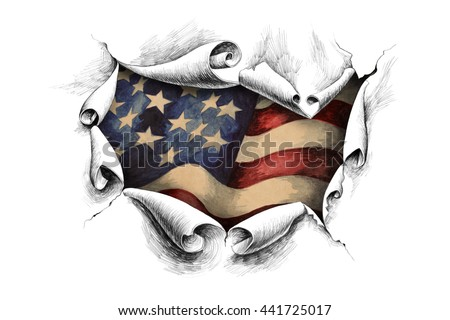 View of the American flag through the big breakthrough in the paper.  - stock photo