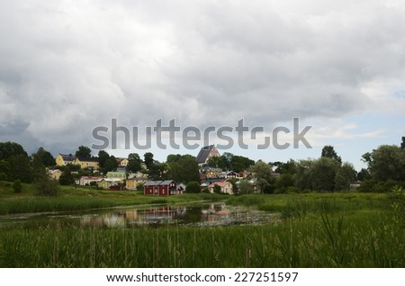 view of the ancient city Porvoo, Finland, Europe - stock photo