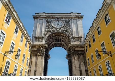 """View of the ancient portal """"Porta Augusta"""" of Lisbon in Portugal - stock photo"""