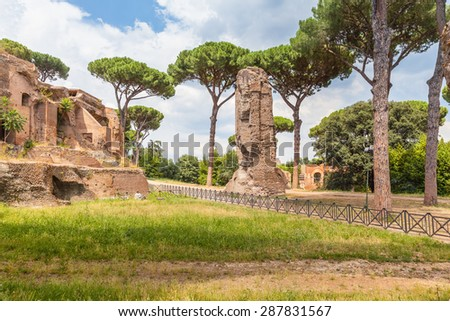 View of the ancient ruin from colosseum, Rome, Italy - stock photo