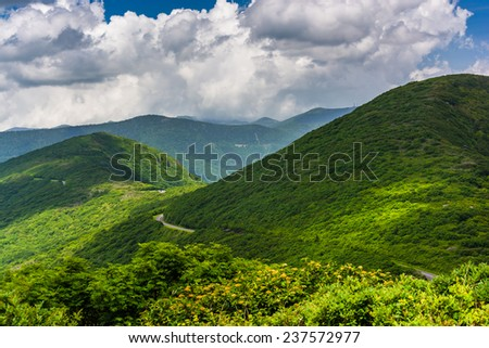 View of the Appalachian Mountains from Craggy Pinnacle, on the Blue Ridge Parkway, North Carolina. - stock photo