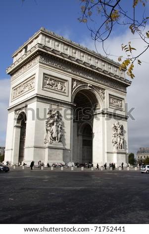 View of the Arc de Triomphe in Paris - stock photo