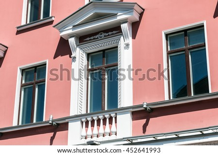 view of the architectural elements of the buildings of the Nevsky Prospekt in St. Petersburg. Russia - stock photo