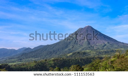 View of the Arenal Volcano in the province of Alajuela in Costa Rica. - stock photo
