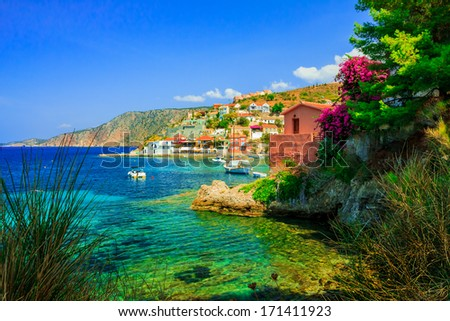 View of the Assos beach in Kefalonia, Greece - stock photo