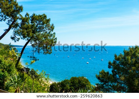 view of the basin of Arcachon in summer under the sun - stock photo