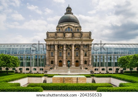 View of the Bavarian State Chancellery in Bavarian Capital Munich - stock photo
