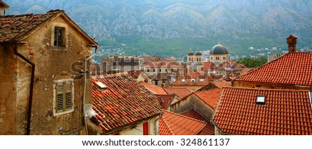 View of the bay of Kotor, Montenegro - stock photo