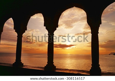 View of the bay of Portovenere at sunset, Liguria, Italy - stock photo