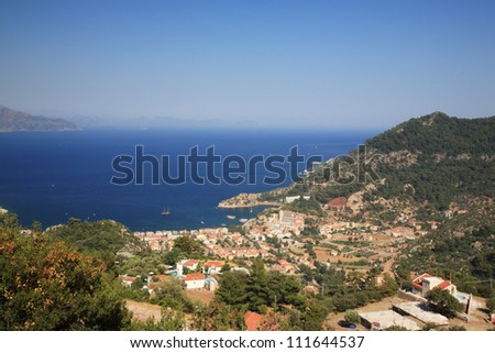 View of the bay of Turunc in Turkey - stock photo