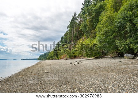 view of the  beach around Tacoma narrow bridge on cloudy day.Wa,usa - stock photo