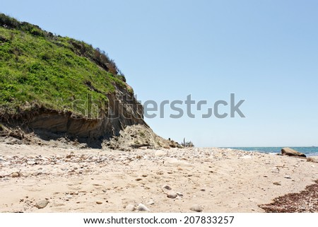 View of the beach on Block Island located in the state of Rhode Island USA. - stock photo