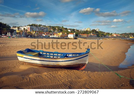 View of the beautiful Paco dArcos beach - Portugal - stock photo