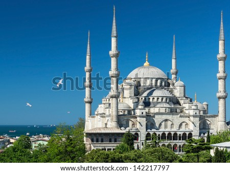 View of the Blue Mosque (Sultanahmet Camii) in Istanbul, Turkey - stock photo