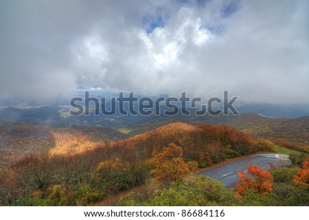 View of the Blue Ridge Mountains during fall season from Brasstown Bald, the highest elevation in the state of Georgia, USA. - stock photo