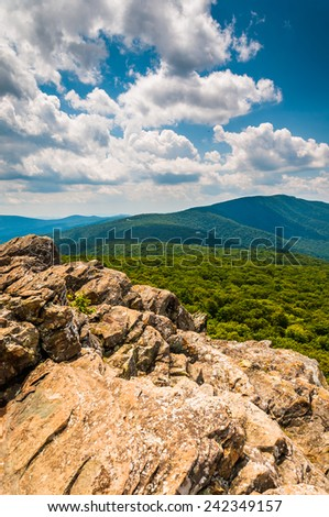 View of the Blue Ridge Mountains from cliffs on South Marshall, in Shenandoah National Park, Virginia. - stock photo