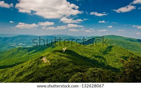 View of the Blue Ridge Mountains from Little Stony Man Cliffs, along the Appalachian Trail in Shenandoah National Park, Virginia. - stock photo
