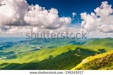 View of the Blue Ridge Mountains from Stony Man Mountain, Shenandoah National Park, Virginia. - stock photo