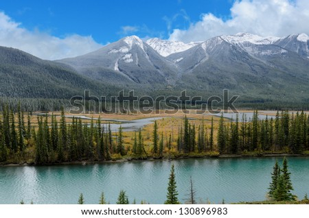 View of the Bow river in Bow Valley Banff National Park Alberta Canada - stock photo