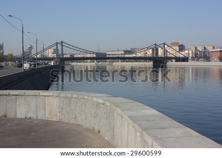 view of the bridge on the moscow river - stock photo