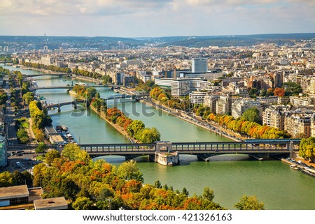 View of the bridges from the Eiffel Tower in Paris, France. Autumn time. - stock photo