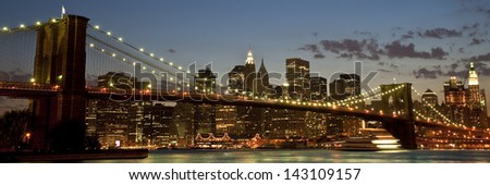View of the Brooklyn Bridge in late evening. - stock photo