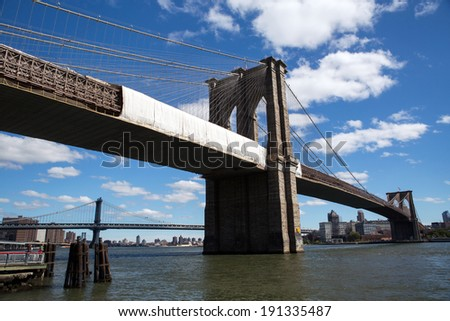 View of the Brooklyn bridge in New York - stock photo