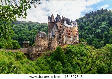 View of the Burg Eltz Castle - stock photo