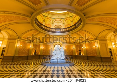View of the California State Capitol rotunda. - stock photo