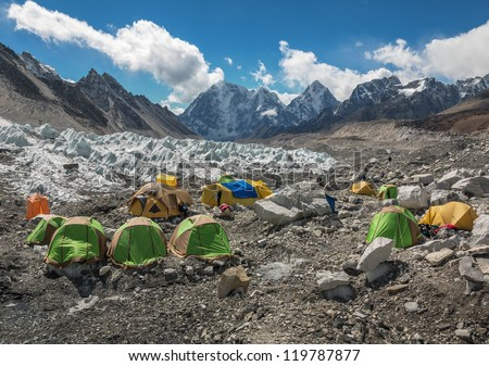 View of the camp of climbers on Khumbu glacier near EBC - Nepal, Himalayas - stock photo