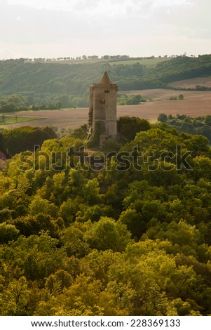 View of the Castle Saaleck from the Rudelsburg in the Saale valley on a summer evening - stock photo