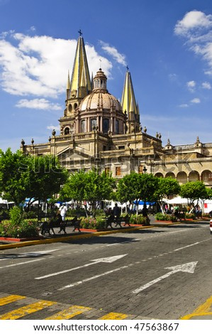 View of the Cathedral from Zocalo in historic center in Guadalajara, Jalisco, Mexico - stock photo