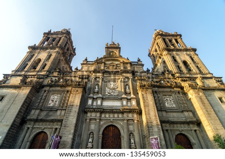 View of the cathedral of Mexico City in the Zocalo - stock photo