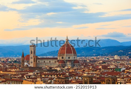 View of the Cathedral of Saint Mary of the Flower - Cattedrale di Santa Maria del Fiore in Florence, tuscany. Italy - stock photo