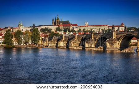View of the Cathedral of St. Vitus and Charles Bridge.  - stock photo