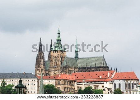 View of the Cathedral of St. Vitus,, Prague, Czech Republic. - stock photo