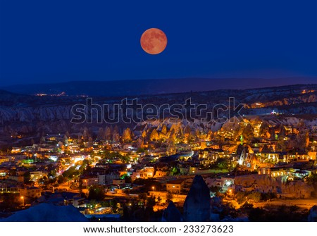 View of the cave houses of Cappadocia and Goreme National Park - stock photo