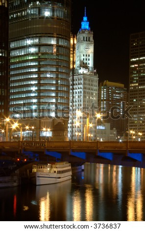 View of the Chicago River on a summer evening. - stock photo