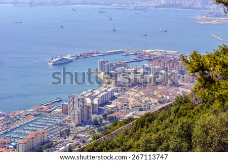 View of the City and Bay of Gibraltar from the Rock of Gibraltar/ The City of Gibraltar/Gibraltar,Europe - stock photo