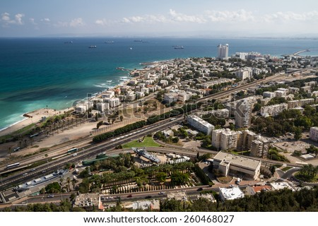 View of the city and the port of Haifa in Israel - stock photo