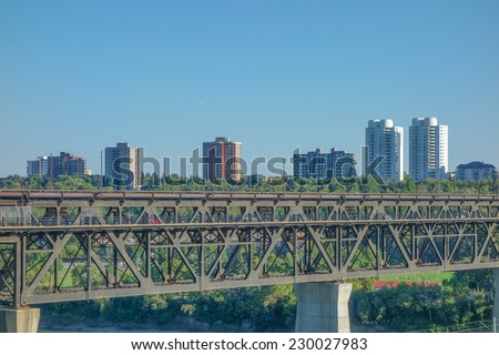 View of the city centre of Egmonton in Canada - stock photo