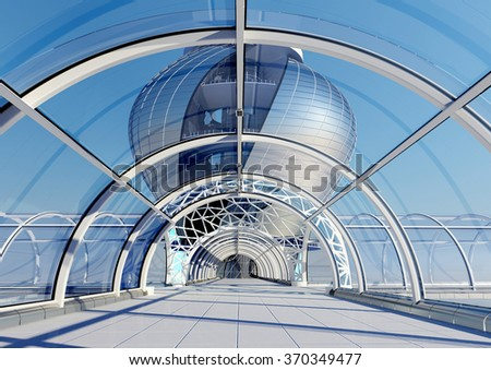 View of the city in the window of a modern building. - stock photo