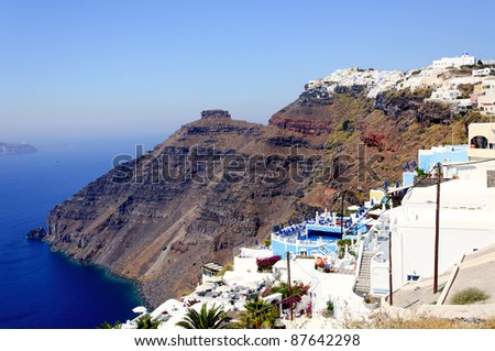 View of the city located on the edge of the volcano, Santorini, Greece - stock photo