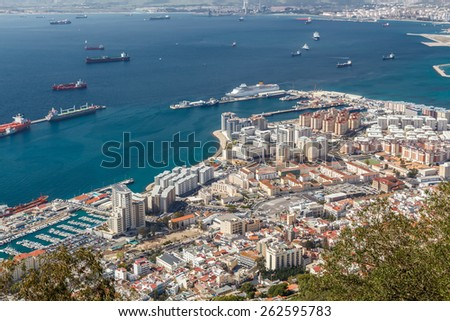 View of the city of Gibraltar and the Bay of Gibraltar - stock photo