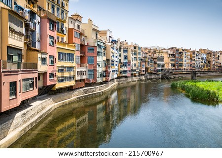 View of the city of Girona, Catalonia, Spain - stock photo