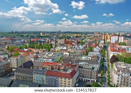 View of the city of Ostrava at the summer time and sunny weather as seen from the lookout on the top of the city hall - stock photo